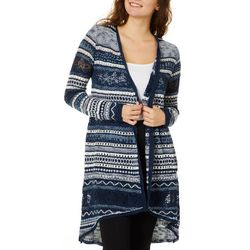 Almost Famous Juniors Striped Crochet Longline Cardigan