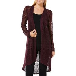 Almost Famous Juniors Open Knit Pom Pom Cardigan