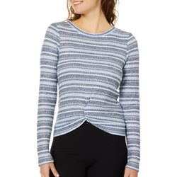 Almost Famous Juniors Striped Knot Front Waffle Top