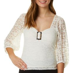 Crave Fame Juniors Solid Lace V-Neck Top