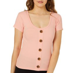 Full Circle Trends Juniors Cropped Ribbed Button Down Top