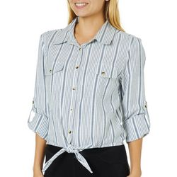 Live 4 Truth Juniors Striped Tie Front Button Down Top