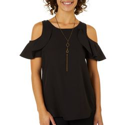 Live 4 Truth Juniors Necklace & Ruffled Cold Shoulder Top