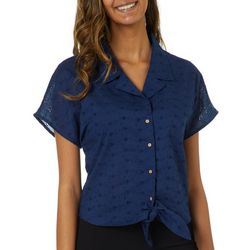 Live 4 Truth Juniors Eyelet Button Down Tie Front Top