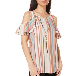 Myth Juniors Necklace & Striped Cold Shoulder Ruffle Top