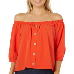 Live 4 Truth Juniors Button Down Off The Shoulder Top
