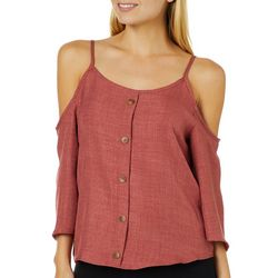Shinestar Juniors Cold Shoulder Button Down Top