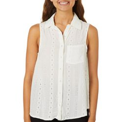 Taylor & Sage Juniors Solid Eyelet Sleeveless Top