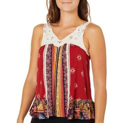 Taylor & Sage Juniors Floral Stripe Crochet Sleeveless Top