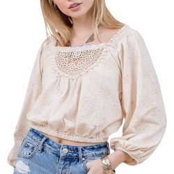 Coco & Jamieson Juniors Eyelet Embroidered Square Neck Top