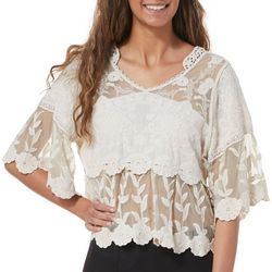 Taylor & Sage Juniors Cropped Floral Lace Bell Sleeve Top