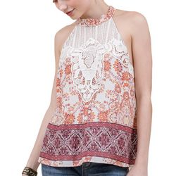 Coco & Jamieson Juniors Floral Print High Neck Lace Top