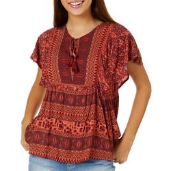 Coco & Jamieson Juniors Mixed Media Peasant Top