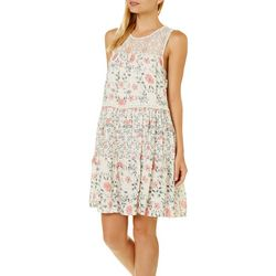 Taylor & Sage Juniors Lace Yoke Floral Tier Dress
