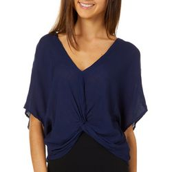 Taylor & Sage Juniors Solid Twist Front Crochet Top