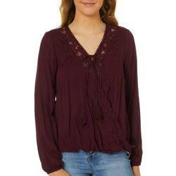 Coco & Jamieson Juniors Lace Trim Surplice Long Sleeve Top