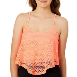 Polly & Esther Juniors Solid Lace Chevron Cropped Tank Top