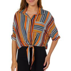 Polly & Esther Juniors Cropped Striped Tie Front Top