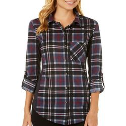 Polly & Esther Juniors Plaid Button Down Top