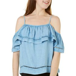 Style House Juniors Cold Shoulder Chambray Top