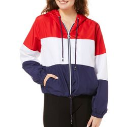 SSS Clothing Juniors Colorblock Zip Up Windbreaker