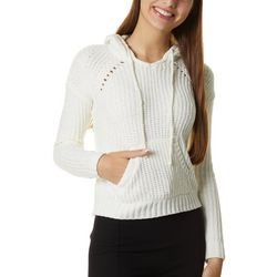Lorena Rose Juniors Solid Chenille Knit Hooded Sweater