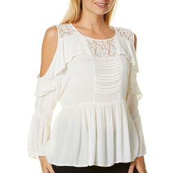 Angie Juniors Boho Solid Lace Trim Cold Shoulder Top