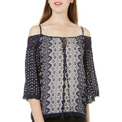 Star of India Juniors Geometric Crochet Cold Shoulder Top