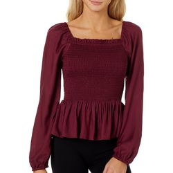 Angie Juniors Smocked Solid Square Neck Top