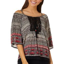 Angie Juniors Crochet Trim Cold Shoulder Top