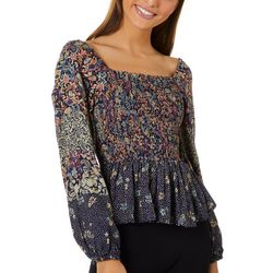 Angie Juniors Smocked Floral Paisley Off The Shoulder Top