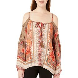 Angie Juniors Floral Tie Neck Cold Shoulder Top