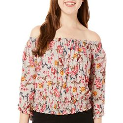 Angie Juniors Smocked Floral Off The Shoulder Top