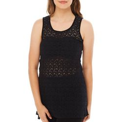 Angie Juniors Lace Tunic Tie Back Tank Top