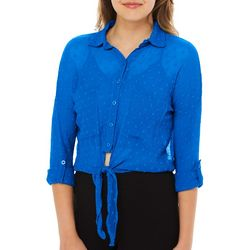 Angie Juniors Solid Sheer Polka Dot Cropped Top