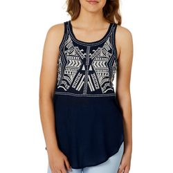Angie Juniors Geometric Embroidered Tank Top