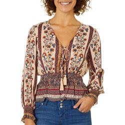 Angie Juniors Cropped Mixed Floral Tassel Top