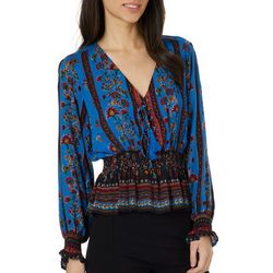 Angie Juniors Cropped Smocked Waist Floral Tassel Top