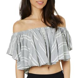 Angie Juniors Cropped Stripe Print Off The Shoulder Top