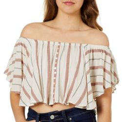 Angie Juniors Cropped Striped Off The Shoulder Top