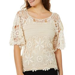 Angie Juniors Floral Crochet Overlay Top