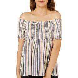 Angie Juniors Smocked Stripe Off The Shoulder Top