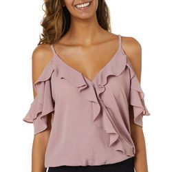 Moa Moa Juniors Textured Ruffled Cold Shoulder Top