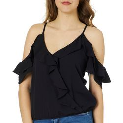 Moa Moa Juniors Solid Ruffled Cold Shoulder Top