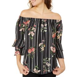 Moa Moa Juniors Floral Striped Off The Shoulder Top