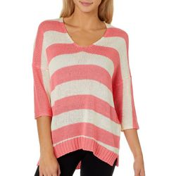 Say What? Juniors Horizontal Stripe V-Neck Sweater