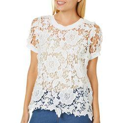 Say What? Juniors Floral Crochet Top