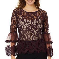 Say What? Juniors Scalloped Lace Bell Sleeve Top