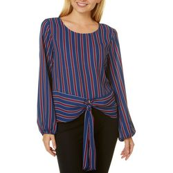 Tempted Juniors Striped Tie Front Top