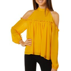 L.N.V. Juniors Solid Cold Shoulder High Neck Top